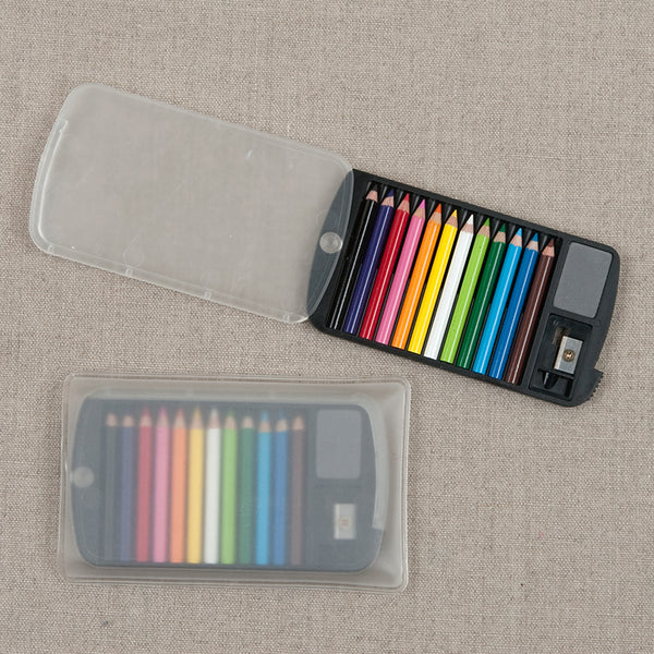 Mini Colored Pencil Case with Eraser and Sharpener