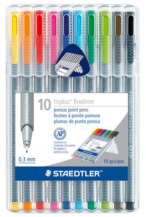 Staedtler Triplus Fineliner .3 mm marker pens- 10 color pack