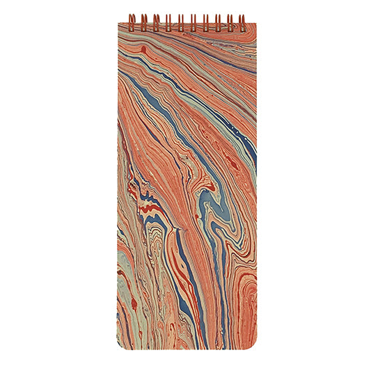 Marbled red paper cover with list pad pages.