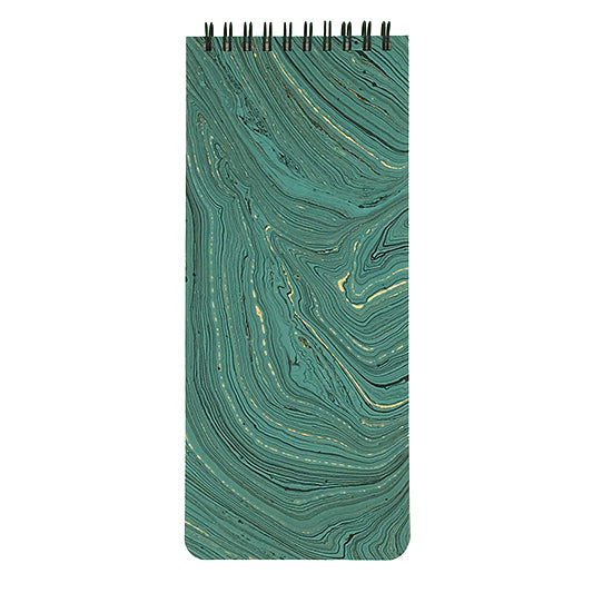 Marbled teal paper cover with list pad pages.