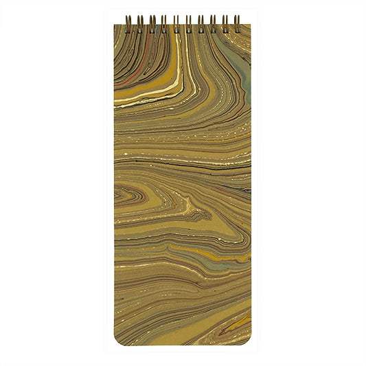Marbled yellow paper cover with list pad pages.