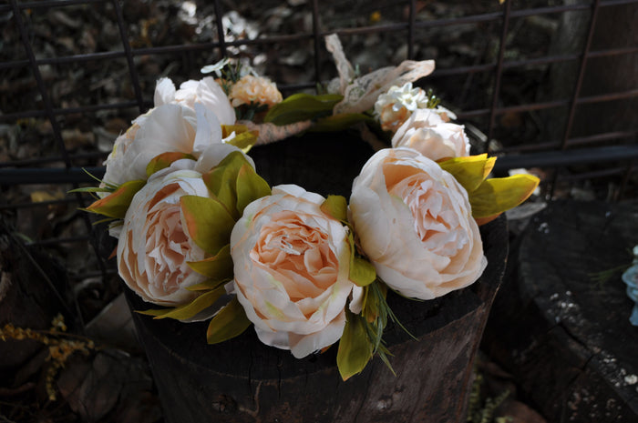 BOHEMIAN PEONY FLOWER CROWN - VINTAGE PEACH