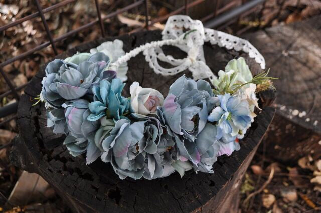 BOHEMIAN PEONY FLOWER CROWN - BLUE STEEL