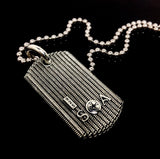 Men's Metal Armor  Dog Tag With A Large Natural Diamond By Sacred Angels