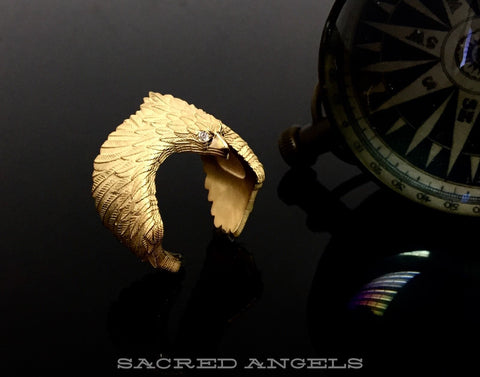 14 K Yellow Gold Eagle Ring With White Diamonds By Sacred Angels