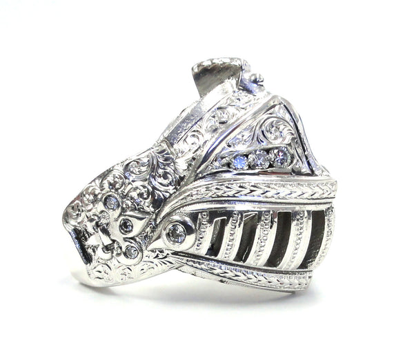 14 K White Gold Medieval Knight Custom Helmet Ring