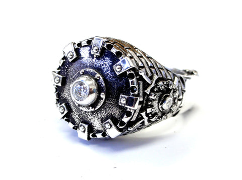 Men's Castle Ring with White Diamonds By Sacred Angels