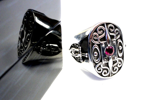 Men's Silver The Knight Of Honor Shield Ring Ruby by Sacred Angels