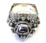 Men's Night's Watch Castle Skull Ring With Black Diamonds By Sacred Angels