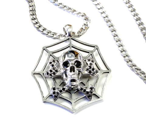 Skull And Bone Spider Web Pendant With Black Daimonds by Sacred Angels