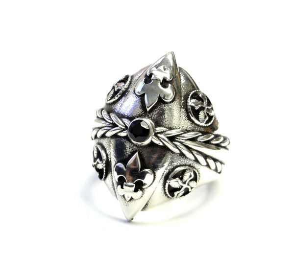 Black Diamond Silver Fleur De Li Ring With Angels Wings