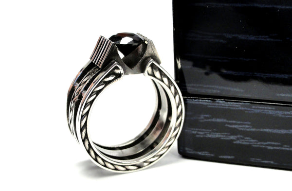 Men's Silver Rope Wedding Band With 2.00 Ct Black Diamond by Sacred Angels