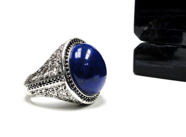 Sacred King's Ring With Black Diamonds and Lapis Center by Sacred Angels