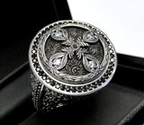 King Arthur's Custom Engraved Knight's Ring With Black And White Diamonds
