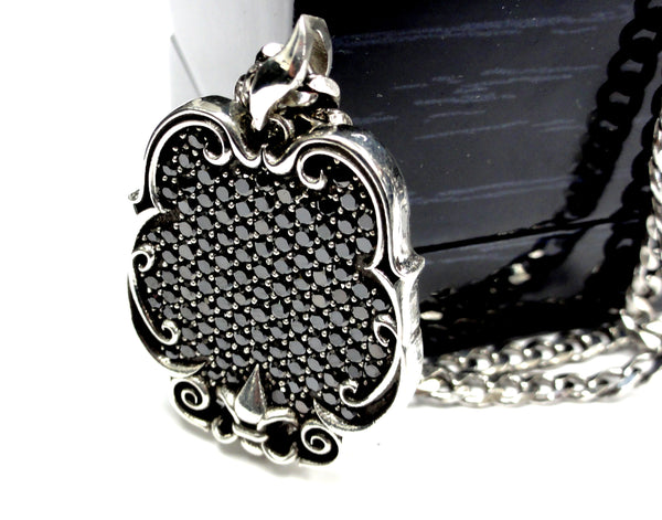 Fleur De Li Dog Tag Style Pendant With Black Daimonds By Sacred Angels