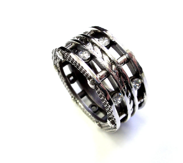 Men's Designer Silver Eternity Diamond Rope Ring By Sacred Angels