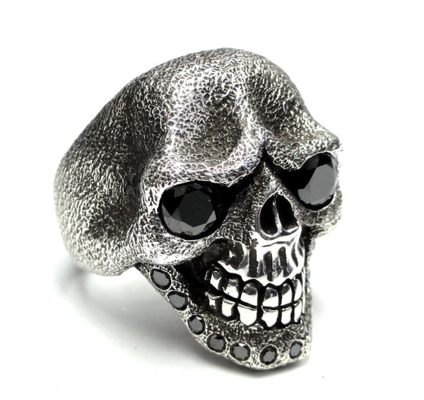Men's Sandman Silver Skull Ring With Black Diamonds 2.50 ct Limited Edition