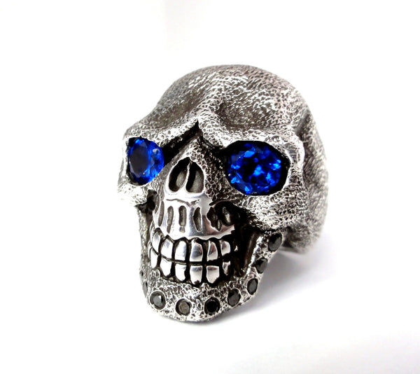 Silver Skull ring with blue sapphires and black diamonds