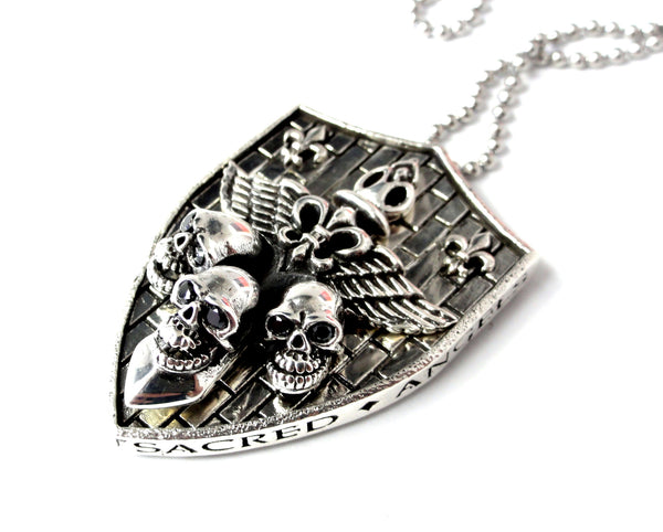 Silver Skull Fleur De Li Pendant With Black Diamonds by Sacred Angels