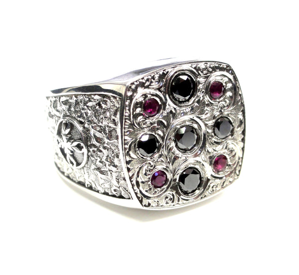 Men's Engraved 14 K White Gold Ring Black Diamonds & Rubies by Sacred Angels
