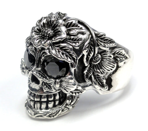 Silver Floral Skull Ring With Black Diamonds 2.20 ct.