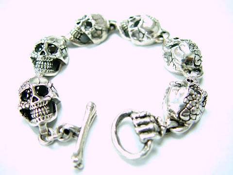 Men's Silver Skull Bracelet With Black Diamonds