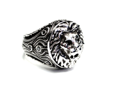 Lion Head Ring With Black Diamonds By Sacred Angels