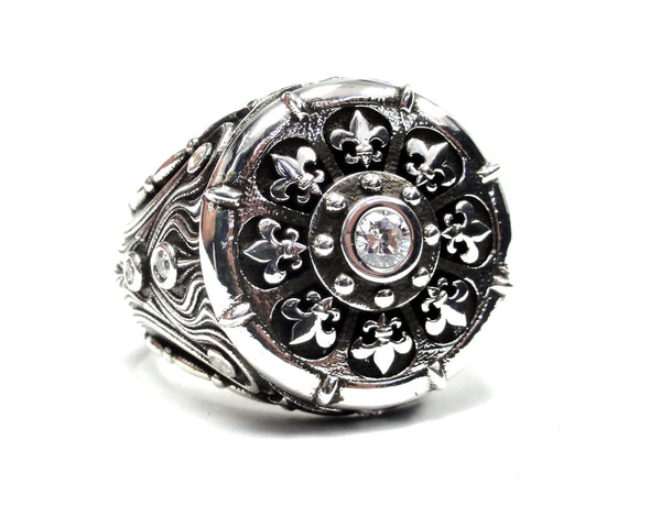 Silver Fleur De Li Ring With Diamonds  By Sacred Angels