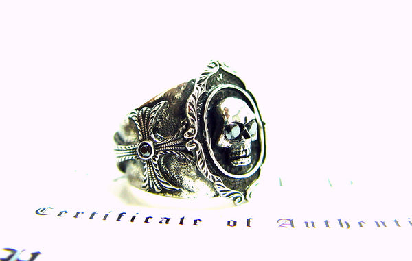 Men's Silver Skull Cross Ring With Black Diamonds by Sacred Angels