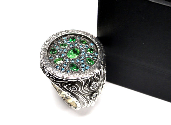 men's gothic rings with blue diamonds and gems