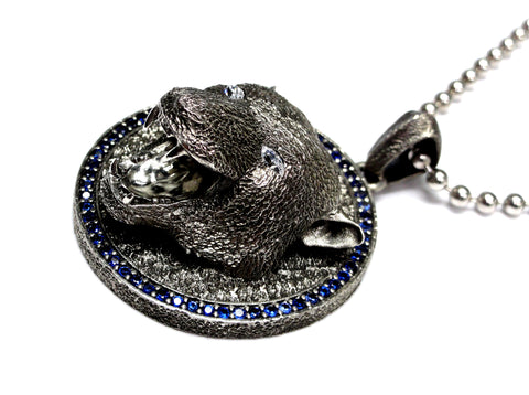 Black Panther Pendant With Blue Sapphires And Diamond Eyes By Sacred Angels