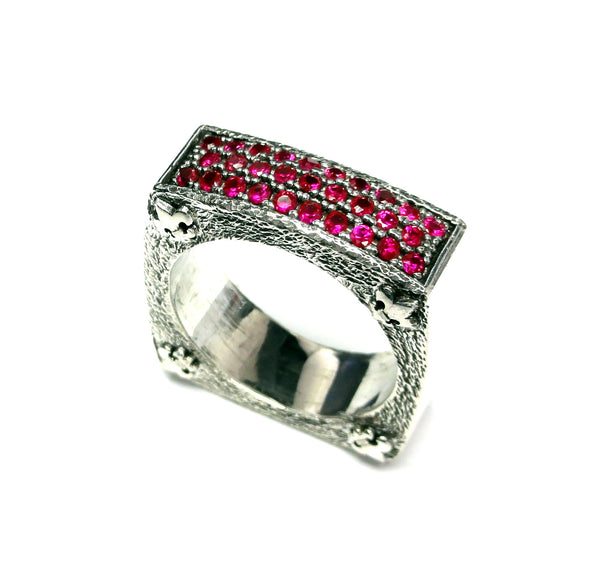 Men's Textured Silver Wedding Band With Rubies By Sacred Angels