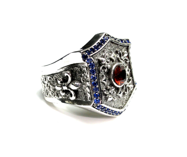 Men's Custom Blue Sapphires And Garnet Silver Fleur De Li Ring By Sacred Angels