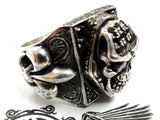 Men's Silver Skull Fleur De Lis Ring With Black Diamonds by Sacred Angels
