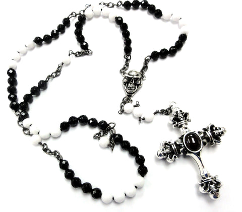 Men's Silver Skull Black Diamond Cross Rosary Pendant by Sacred Angels