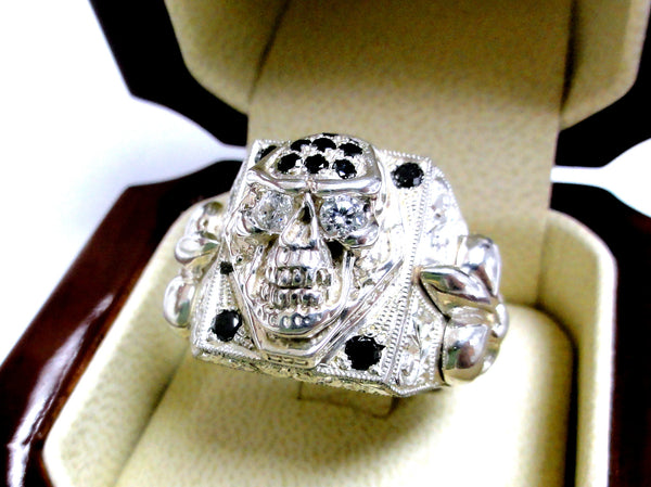 Men's Silver Skull Fleur De Lis Ring With Black And White Diamonds