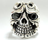 Men's 14K White Gold Skull Ring With Black Diamonds