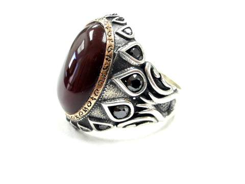 Men's Designer Sultan's Ring With Black Diamonds by Sacred Angels