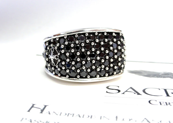 Men's Black Diamond Wedding Band  By Sacred Angels