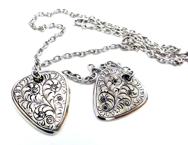 Designer Black Diamond Double Guitar Pick Necklace 100% Hand Engraved