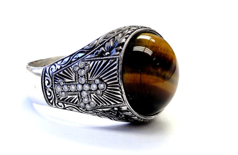 Men's Custom Cross Ring With Natural Diamonds & Tiger Eye  %100 Hand Engraved