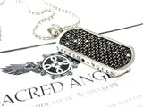 14 K White Gold Black Diamond Dog Tag by Sacred Angels