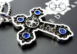Large Silver Gothic Cross Pendant With Blue Sapphires