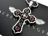 Designer Sterling Silver Gothic Cross Pendant With Rubies by Sacred Angels