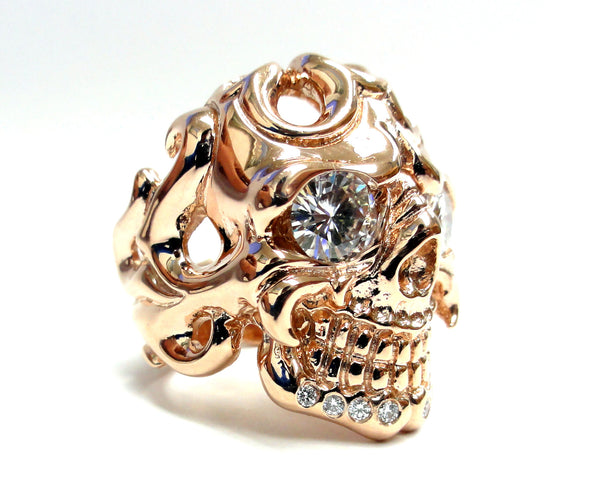 Men's 14K Rose Gold Skull Ring