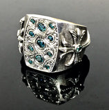 Men's Custom Hand Engraved Silver Ring With Blue Diamods By Sacred Angels