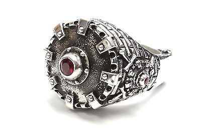 Men's Custom Castle Ring With Rubies By Sacred Angels