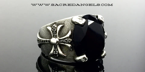 Men's Cross Ring With Black Diamonds By Sacred Angels