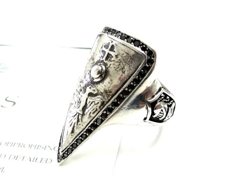 Men's Silver Eagle Knight Cross Shield Ring With Black Diamonds by Sacred Angels