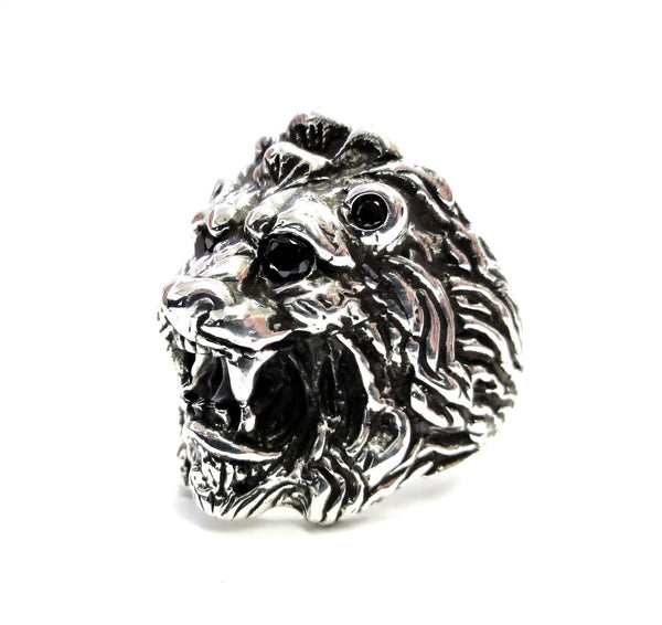 Men's King Lion Heavy Silver Ring With Black Diamonds